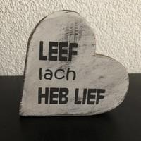 """thumb-Houten Teksthart 10 cm """"Leef Lach Heb Lief"""" - Kleur Antique White-2"""