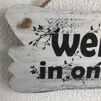 """thumb-BonTon - Houten Tekstplank / Tekstbord 22 x 30 cm """"Welkom in onze tuin"""" - Kleur Antique White-3"""