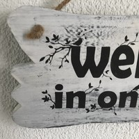 """thumb-Houten Tekstplank / Tekstbord 22x30cm """"Welkom in onze tuin"""" - Kleur Antique White-3"""