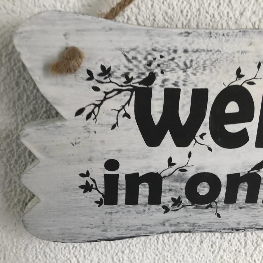 "BonTon - Houten Tekstplank / Tekstbord 22 x 30 cm ""Welkom in onze tuin"" - Kleur Antique White-3"