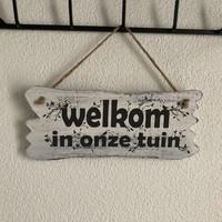 """thumb-BonTon - Houten Tekstplank / Tekstbord 22 x 30 cm """"Welkom in onze tuin"""" - Kleur Antique White-6"""