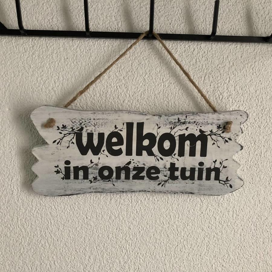 "BonTon - Houten Tekstplank / Tekstbord 22 x 30 cm ""Welkom in onze tuin"" - Kleur Antique White-6"