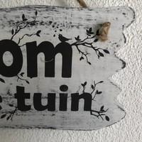 """thumb-BonTon - Houten Tekstplank / Tekstbord 22 x 30 cm """"Welkom in onze tuin"""" - Kleur Antique White-4"""