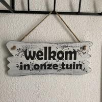 """thumb-Houten Tekstplank / Tekstbord 22x30cm """"Welkom in onze tuin"""" - Kleur Antique White-2"""