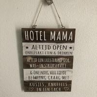 "thumb-Houten Tekstplank / Tekstbord 40x30cm ""Hotel Mama"" - Kleur Naturel en Antique White-2"