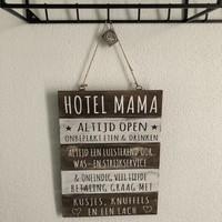 "thumb-Houten Tekstplank / Tekstbord 40x30cm ""Hotel Mama"" - Kleur Naturel en Antique White-4"