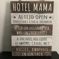 "thumb-Houten Tekstplank / Tekstbord 40x30cm ""Hotel Mama"" - Kleur Naturel en Antique White-3"