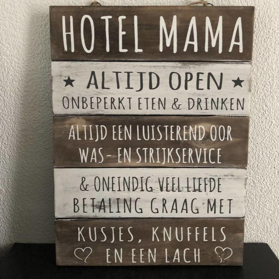 "Houten Tekstplank / Tekstbord 40x30cm ""Hotel Mama"" - Kleur Naturel en Antique White-3"