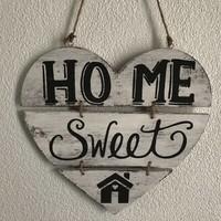 """thumb-Houten Tekstplank / Teksthart 30cm """"Home Sweet Home"""" - Kleur Antique White-2"""