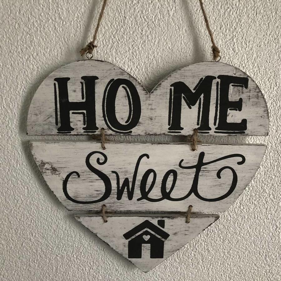 """Houten Tekstplank / Teksthart 30cm """"Home Sweet Home"""" - Kleur Antique White-2"""