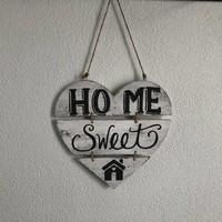 """thumb-Houten Tekstplank / Teksthart 30cm """"Home Sweet Home"""" - Kleur Antique White-3"""