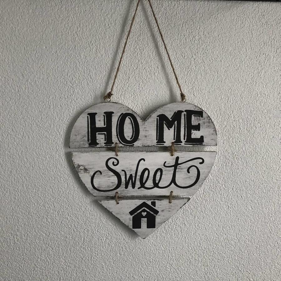 """Houten Tekstplank / Teksthart 30cm """"Home Sweet Home"""" - Kleur Antique White-3"""