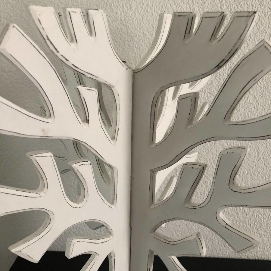 Houten 3D Boom 40x30cm - Kleur Antique White-3