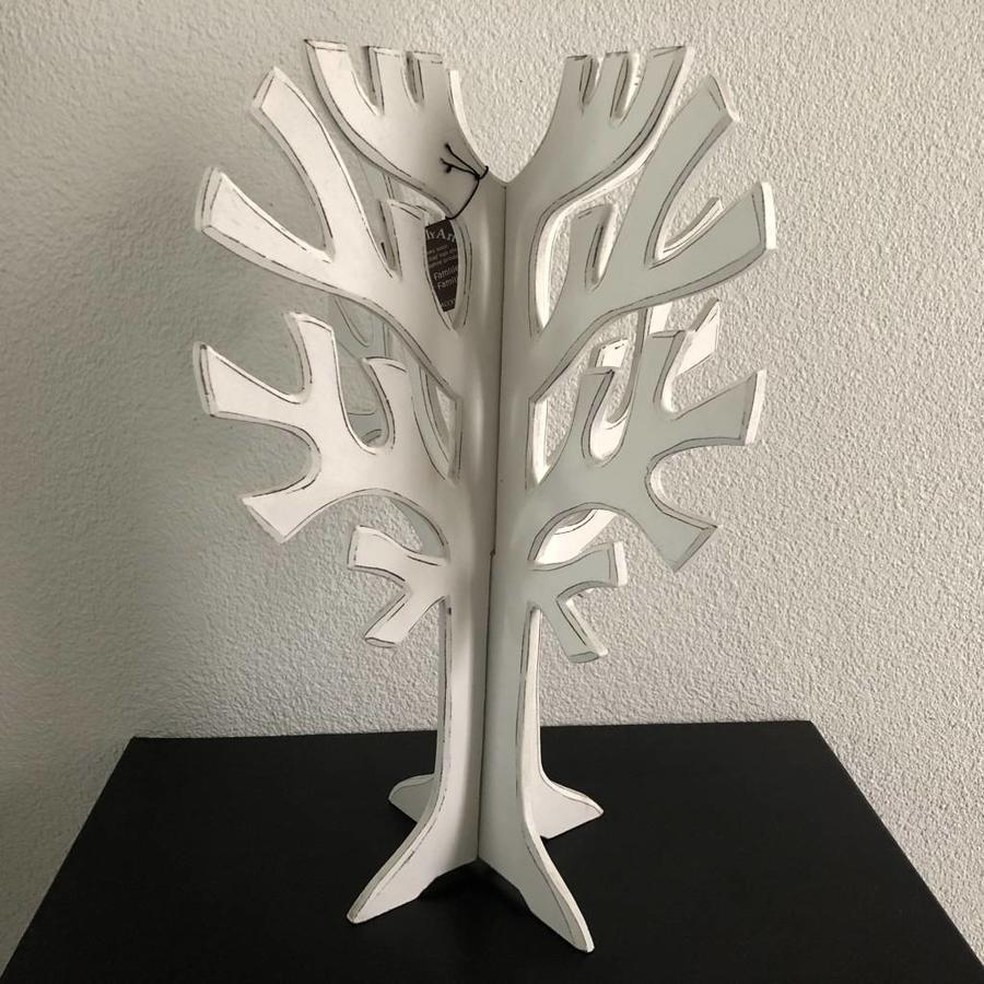 Houten 3D Boom 40x30cm - Kleur Antique White-2