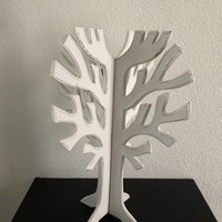 thumb-Houten 3D Boom 40x30cm - Kleur Antique White-5