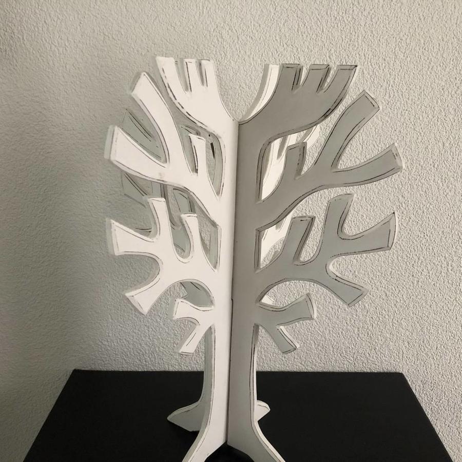 Houten 3D Boom 40x30cm - Kleur Antique White-5