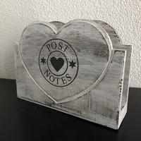thumb-BonTon - Houten Postbak Hart / Notes 20 cm - Kleur Antique White-5