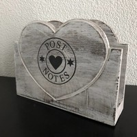 thumb-Houten Postbak Hart / Notes  20cm - Kleur Antique White-5
