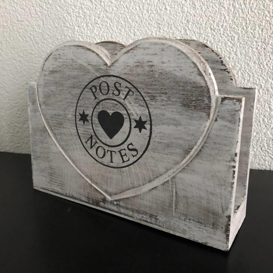 Houten Postbak Hart / Notes  20cm - Kleur Antique White-5