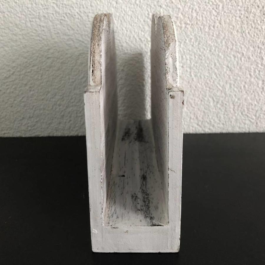 Houten Postbak Hart / Notes  20cm - Kleur Antique White-3