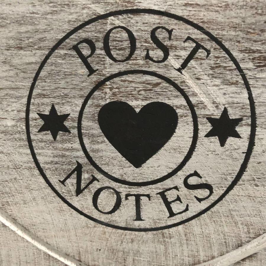 Houten Postbak Hart / Notes  20cm - Kleur Antique White-4