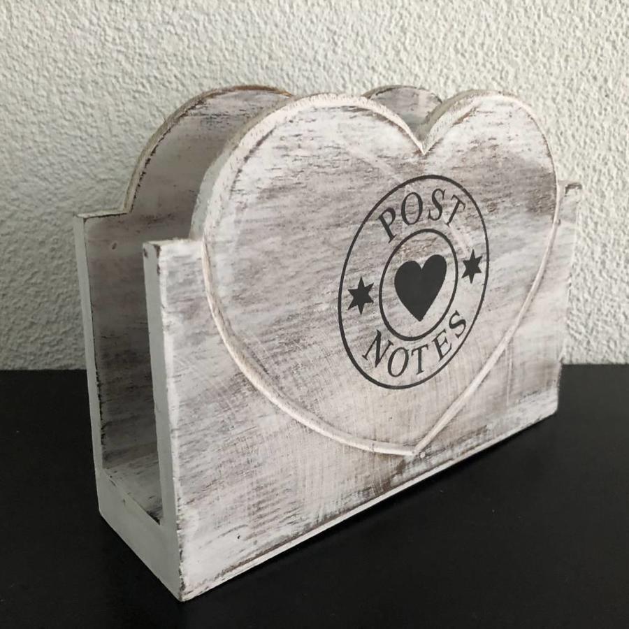BonTon - Houten Postbak Hart / Notes 20 cm - Kleur Antique White-1