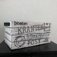 thumb-Houten Krantenbak 35x21cm - Kleur Antique White-1