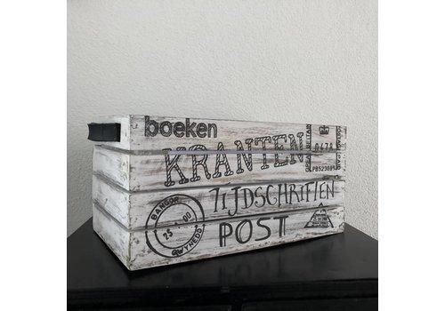 Houten Krantenbak 35 x 21 cm - Kleur Antique White