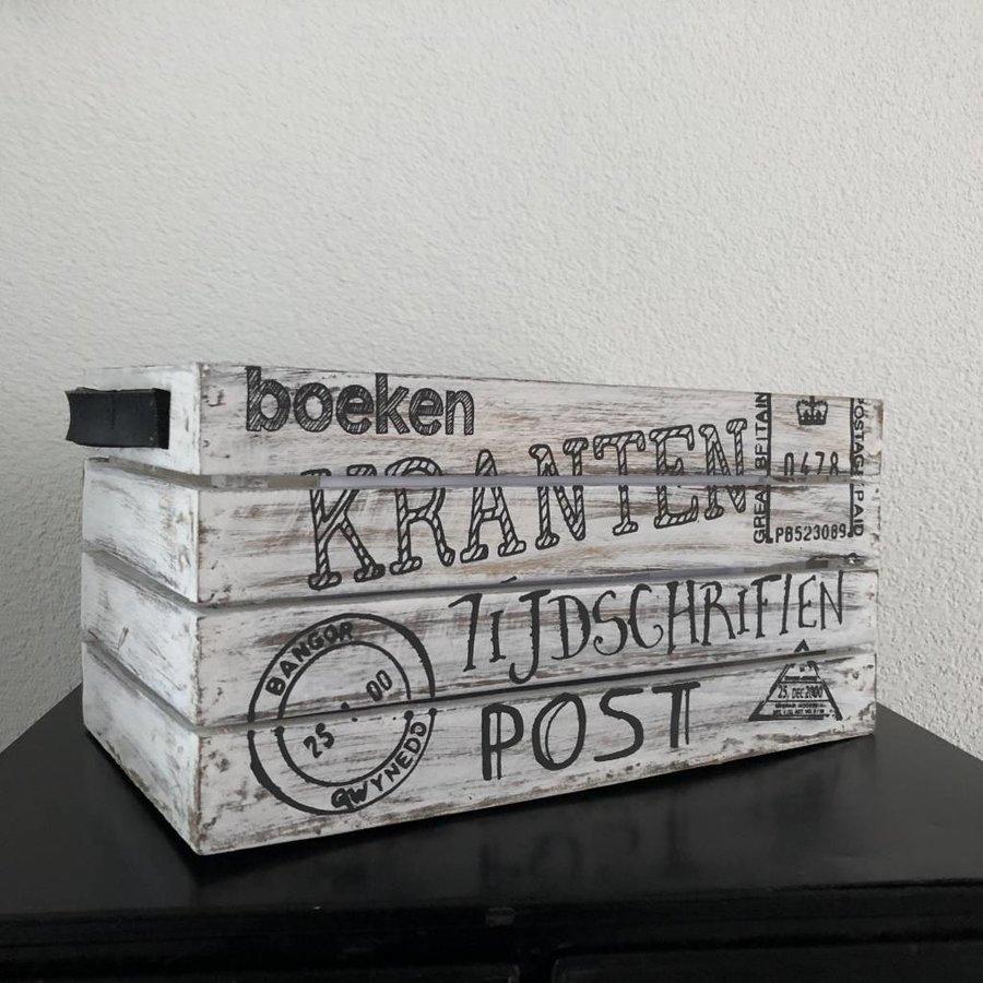 Houten Krantenbak 35x21cm - Kleur Antique White-1
