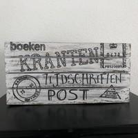 thumb-Houten Krantenbak 35x21cm - Kleur Antique White-2