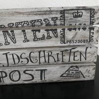 thumb-Houten Krantenbak 35x21cm - Kleur Antique White-5