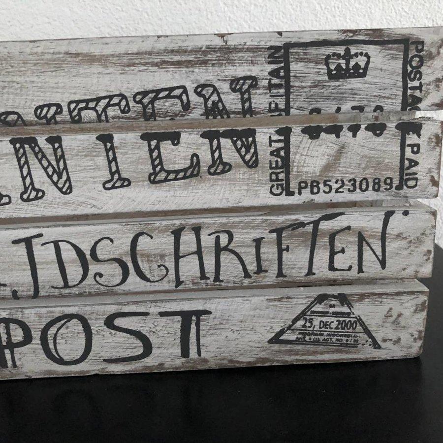 BonTon - Houten Krantenbak 35 x 21 cm - Kleur Antique White-5