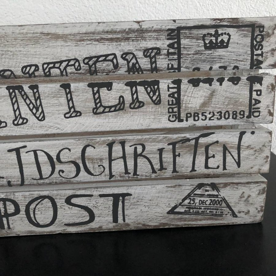 Houten Krantenbak 35x21cm - Kleur Antique White-5