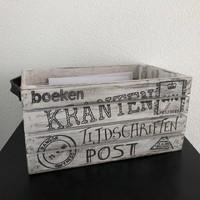 thumb-Houten Krantenbak 35x21cm - Kleur Antique White-6