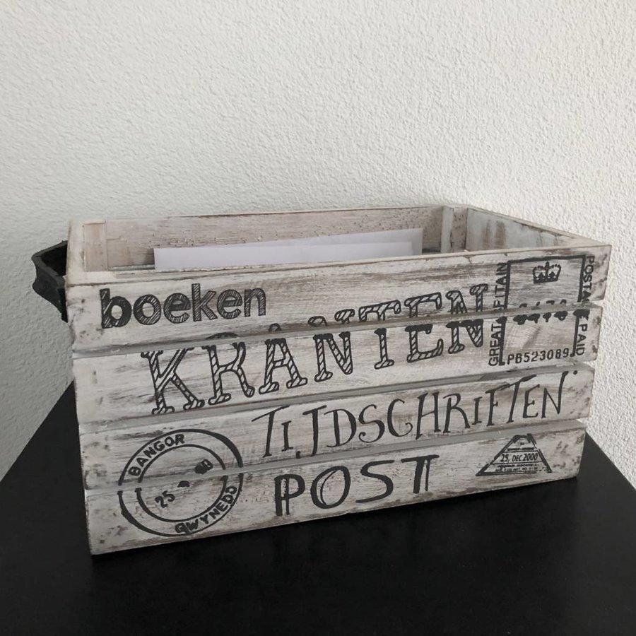 Houten Krantenbak 35x21cm - Kleur Antique White-6
