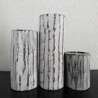 thumb-Houten Waxinehouders Boomstammen - 3 Stuks - Kleur Antique White-3