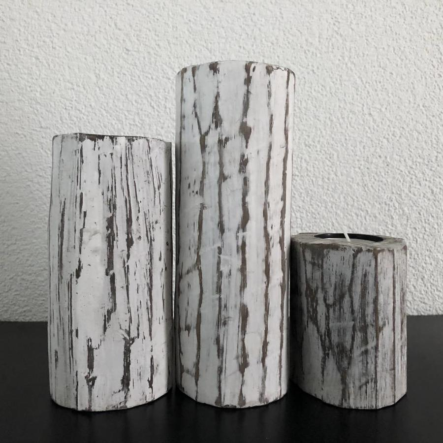 Houten Waxinehouders Boomstammen - 3 Stuks - Kleur Antique White-3