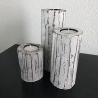 thumb-Houten Waxinehouders Boomstammen - 3 Stuks - Kleur Antique White-1
