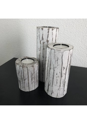 Houten Waxinehouders Boomstammen - 3 Stuks - Kleur Antique White