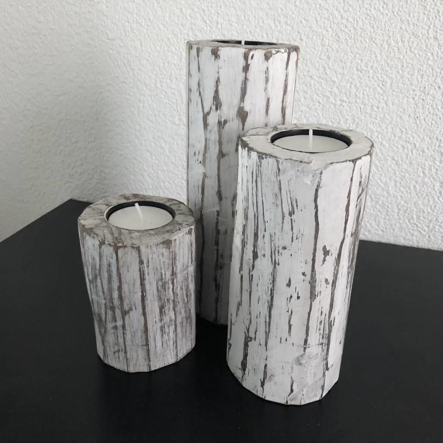 Houten Waxinehouders Boomstammen - 3 Stuks - Kleur Antique White-1