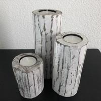 thumb-Houten Waxinehouders Boomstammen - 3 Stuks - Kleur Antique White-4