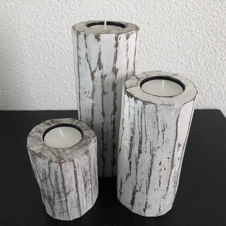 Houten Waxinehouders Boomstammen - 3 Stuks - Kleur Antique White-4