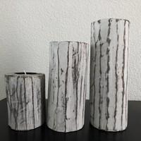 thumb-Houten Waxinehouders Boomstammen - 3 Stuks - Kleur Antique White-6