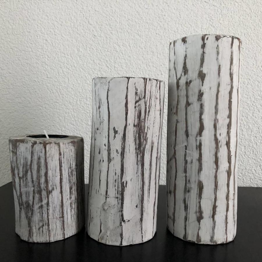 Houten Waxinehouders Boomstammen - 3 Stuks - Kleur Antique White-6
