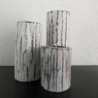thumb-Houten Waxinehouders Boomstammen - 3 Stuks - Kleur Antique White-2