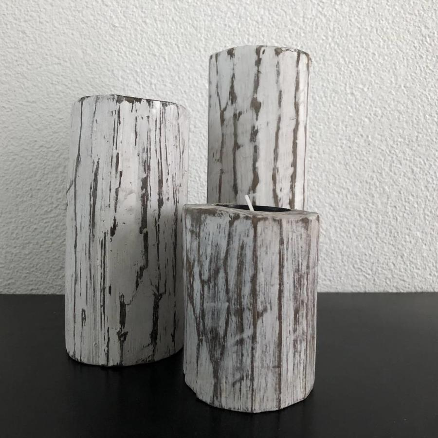 Houten Waxinehouders Boomstammen - 3 Stuks - Kleur Antique White-2