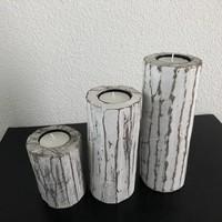 thumb-Houten Waxinehouders Boomstammen - 3 Stuks - Kleur Antique White-5