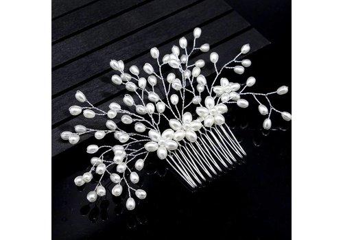 Stijlvolle Zilverkleurige Haarkam met Ivoorkleurige Parels