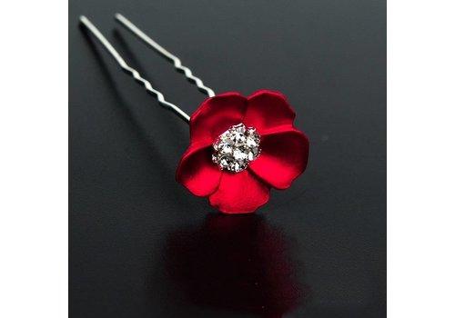 Zilverkleurige Hairpins met Rode Bloem - 2 Stuks