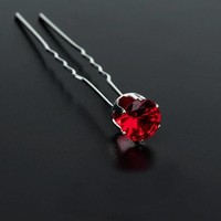 thumb-PaCaZa - Zilverkleurige Hairpins met Rode Kristal - 4 Stuks-1